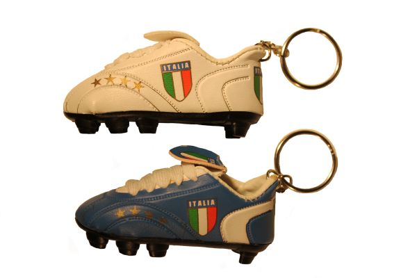 ITALIA ITALY WHITE & BLUE ( Set ) 4 Stars Country Flag Logo Soccer SHOE CLEAT KEYCHAINS