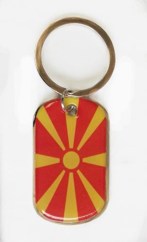 MACEDONIA COUNTRY FLAG METAL KEYCHAIN .. NEW AND IN A PACKAGE