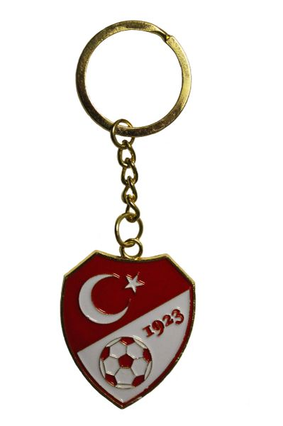 TURKEY Country Flag Logo , Soccer Ball , 1923 Metal KEYCHAIN