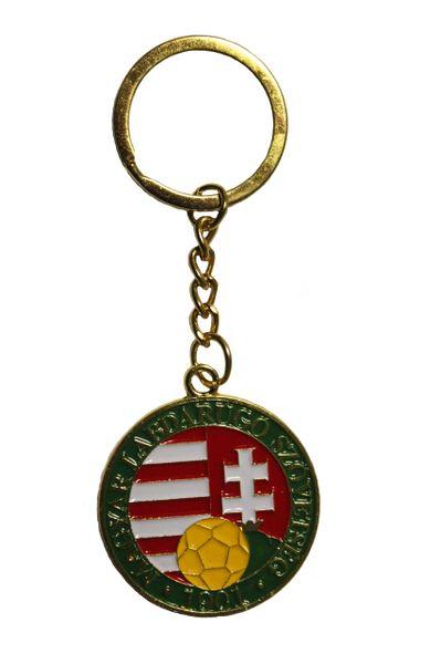 "HUNGARY Country Flag logo Soccer Ball MAGYAR LABDARUGO SZOVETSEC 1901 , 1.5"" Inch Round Metal KEYCHAIN"
