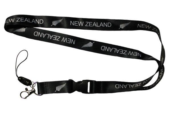 NEW ZEALAND Black LANYARD KEYCHAIN PASSHOLDER NECKSTRAP Clasp At The End