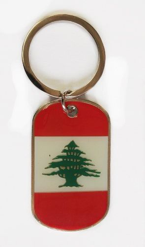 LEBANON COUNTRY FLAG METAL KEYCHAIN .. NEW AND IN A PACKAGE