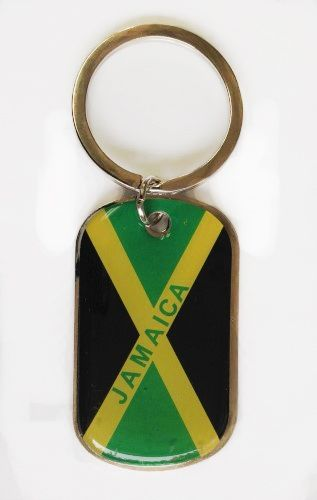 JAMAICA COUNTRY FLAG METAL KEYCHAIN .. NEW AND IN A PACKAGE