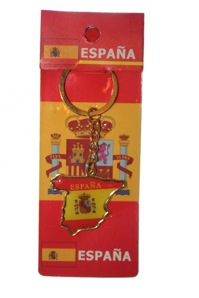 ESPANA SPAIN COUNTRY SHAPE FLAG METAL KEYCHAIN .. NEW AND IN A PACKAGE