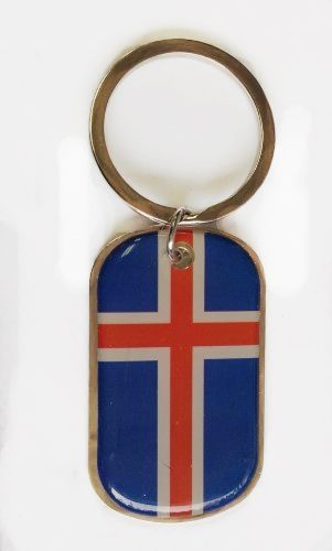 ICELAND COUNTRY FLAG METAL KEYCHAIN .. NEW AND IN A PACKAGE