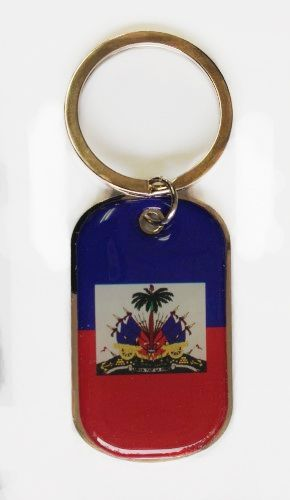 HAITI COUNTRY FLAG Dog Tag METAL KEYCHAIN .. NEW