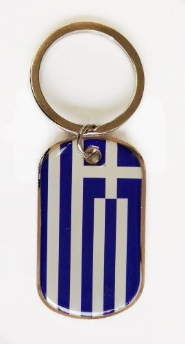 GREECE COUNTRY FLAG METAL KEYCHAIN .. NEW AND IN A PACKAGE
