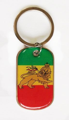 ETHIOPIA WITH LION COUNTRY FLAG METAL KEYCHAIN .. NEW AND IN A PACKAGE