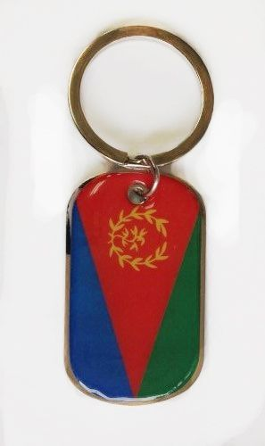 ERITREA COUNTRY FLAG METAL KEYCHAIN .. NEW AND IN A PACKAGE