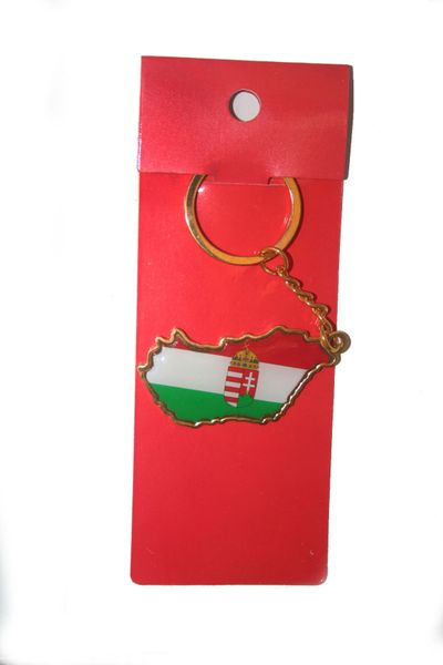HUNGARY COUNTRY SHAPE FLAG METAL KEYCHAIN .. NEW AND IN A PACKAGE