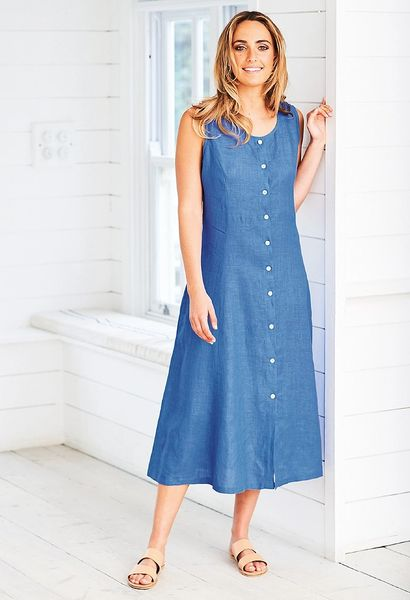 Adini Lagoon Dress Lagoon Linen