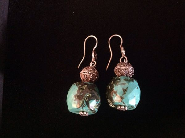 Tibetan Turquoise And Silver Earings