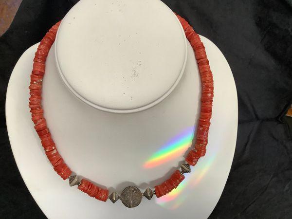 Coral Silver Necklace.