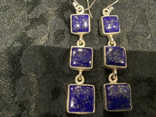 Lapis Lazurite 3 Stone Square Drop Earrings.