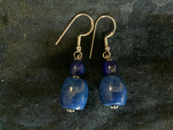 Lapis Lazurite 2 Stone And Silver Drop Earrings.
