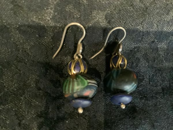 Lapis Lazurite, Painted Glass Bead And Silver Earrings.