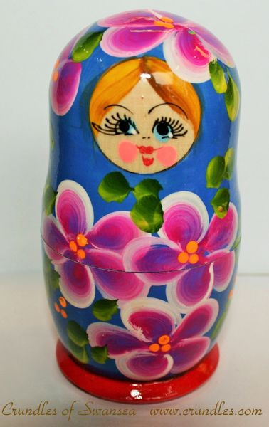 Matryoshka Doll - Blue with Pink Flowers - 100mm Tall - 5 Piece