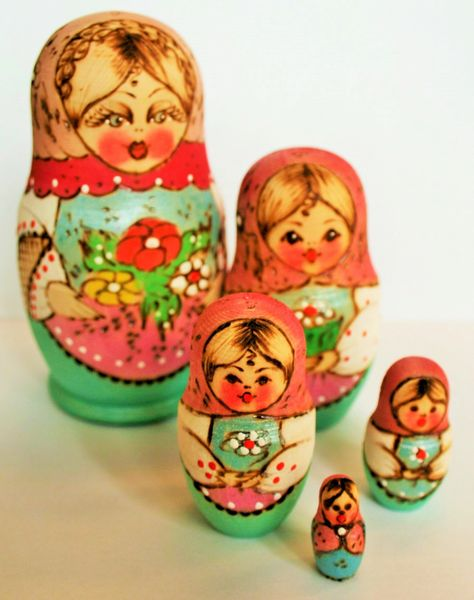 Matryoshka Russian Doll - Pastel colours - 100mm Tall