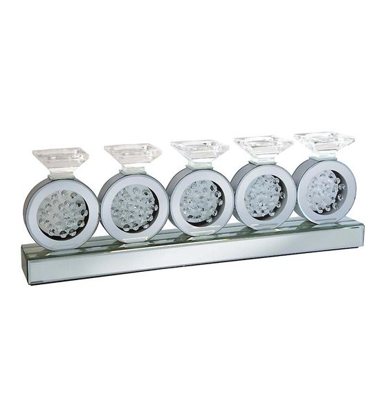 Circular Waterfall Mirrored Glass Candle Stand