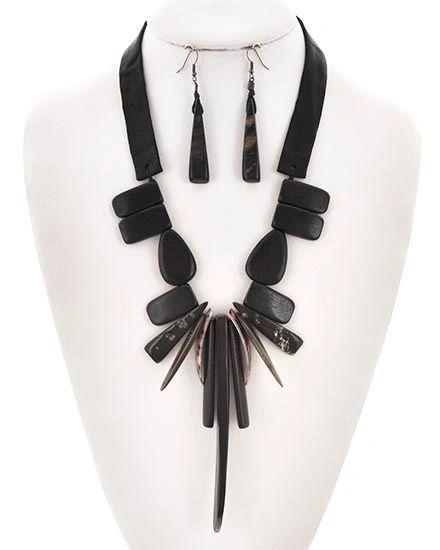 Suede & Stone Necklace w/ Earrings