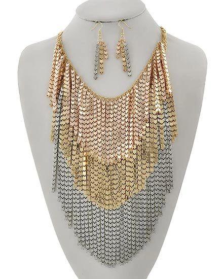 Metal Fringe Necklace w/ Earrings