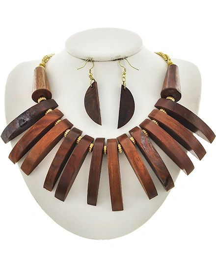 Wood & Gold Necklace w/ Earrings