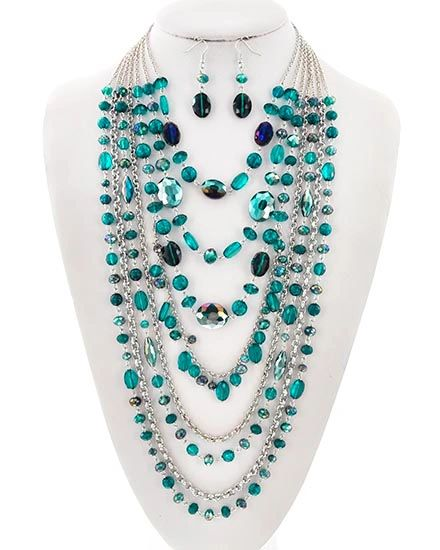Turquoise & Silver Layered Necklace w/ Earrings