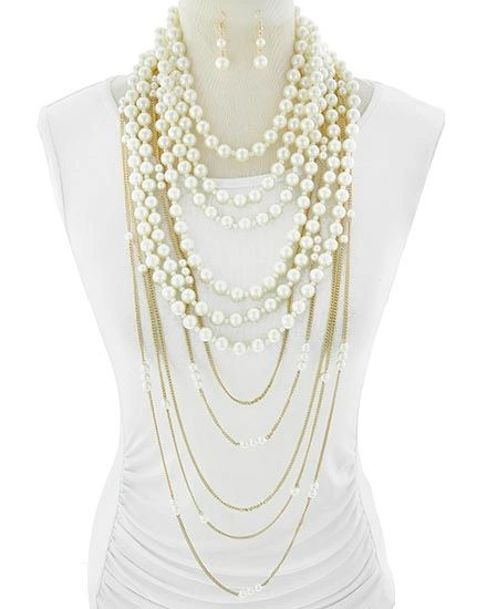 Two-Way Layered Pearl and Gold Chain Necklace w/ Earrings