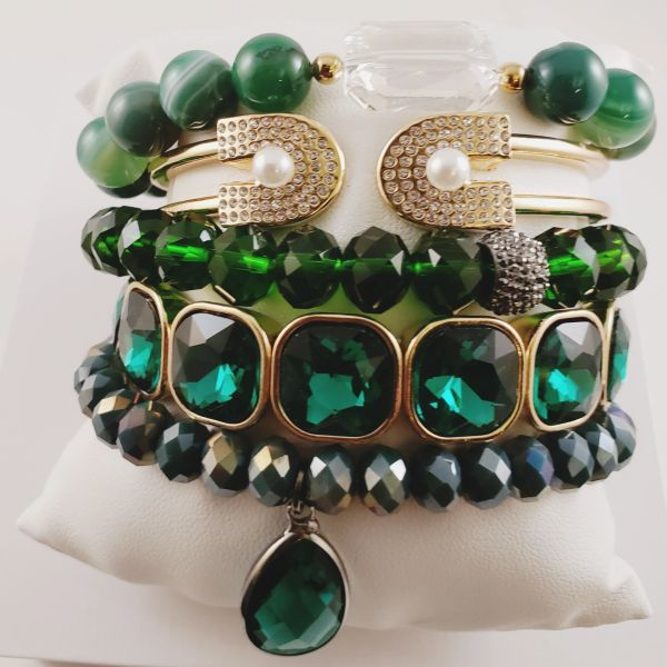 Green Machine Bracelet Stack