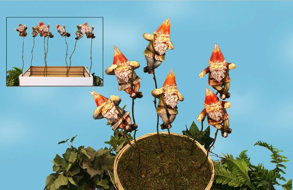 PS112 Gnome Plant Sticks w Free Display (12 PC SET)
