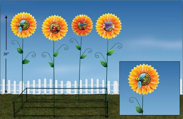 PS124 Sunflower Metal Plant Stick with Display (12 PCS SET)