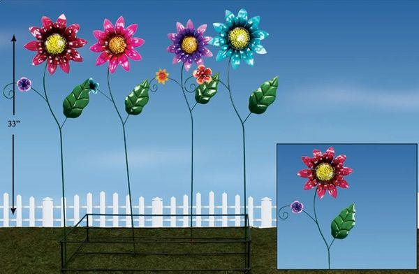 PS125 Lg Flowers Metal Plant Sticks with Display (12 PCS SET)