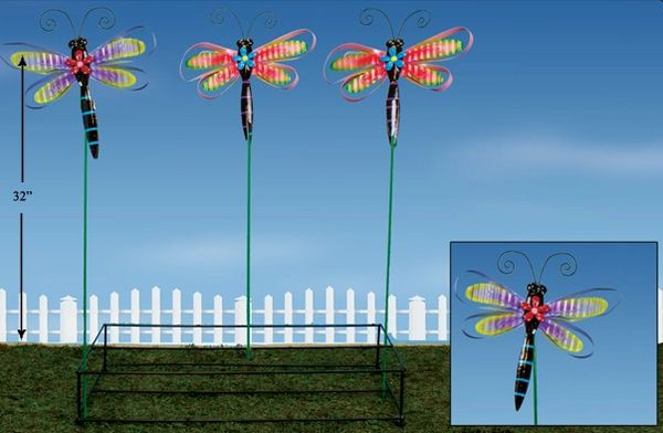 PS122 Lg DragonflyMetal Plant Stick with Display (12 PCS SET)