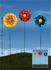 PS123 Giant Flower Metal Plant Sticks with Display (12 PCS SET)