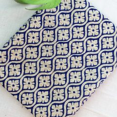 Printed Matka Silk- Blue on Beige Background