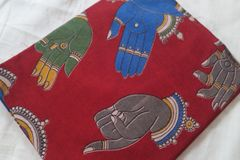 Kalamkari Printed Blouse Piece - Mudras - Maroon