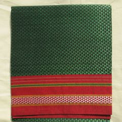 Khunn Blouse Piece - Machine woven - Triangle Pattern - Green with Maroon Border
