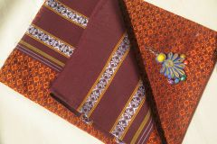 Khunn Blouse Piece - Handwoven - Big Flower Pattern - Orange with Maroon Border