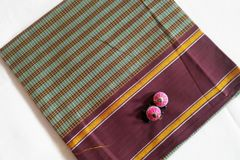 Udupi Blouse Piece - Cotton Checks - Teal and Brown with Brown Border