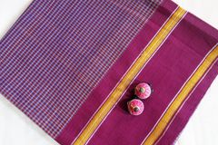 Udupi Blouse Piece - Cotton Checks - Maroon and Blue with Gold Check and Maroon Border