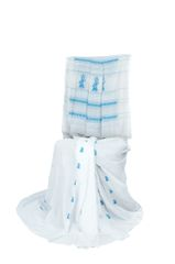 Gollabhama Saree - Pallu Motif - Mercerised Cotton - White with Aqua Blue Motifs