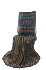 Gollabhama Saree - Pallu Motif - Mercerised Cotton with Stripes - Black & Bronze