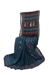 Gollabhama Saree - Pallu Motif - Mercerised Cotton with Stripes - Black & Blue
