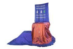 Gollabhama Saree - Pallu Motif - Silk - Brick Red with Blue Border, Palla & Blouse