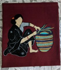 Women In Craft - Make me a Basket - Cotton - Maroon with Black Painting