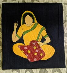 Women In Craft - Tales in Thread - Cotton - Navy Blue with Yellow Painting