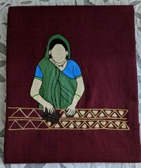 Women In Craft - Handblock Happiness - Cotton - Maroon with Olive Green Painting