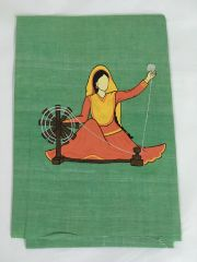 Women In Craft - Spin a Dream - Cotton - Green with Orange & Yellow Painting