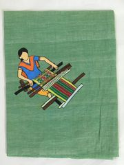 Women In Craft - Weave a Story - Cotton - Green with Blue Painting