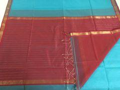 Maheshwari Sarees - Silk Cotton - Small Zari Border - Blue with Pink Palla & Blouse
